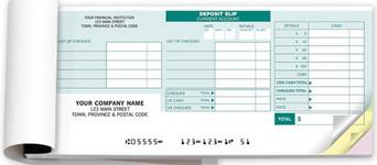 Small p cheque deposit books with 2-copy or RBC's 3-copy.
