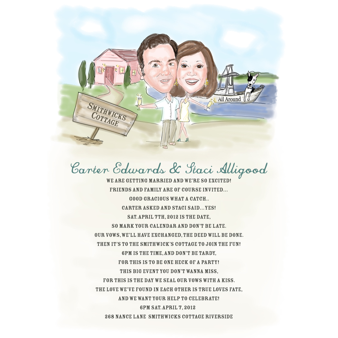Unique Custom Caricature Wedding Bridal Party Invitations | Custom ...