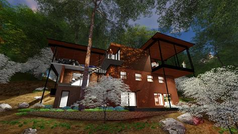 Usonian MidCentury Modern Renovation 3DGreenPlanetArchitects.com reat perspective
