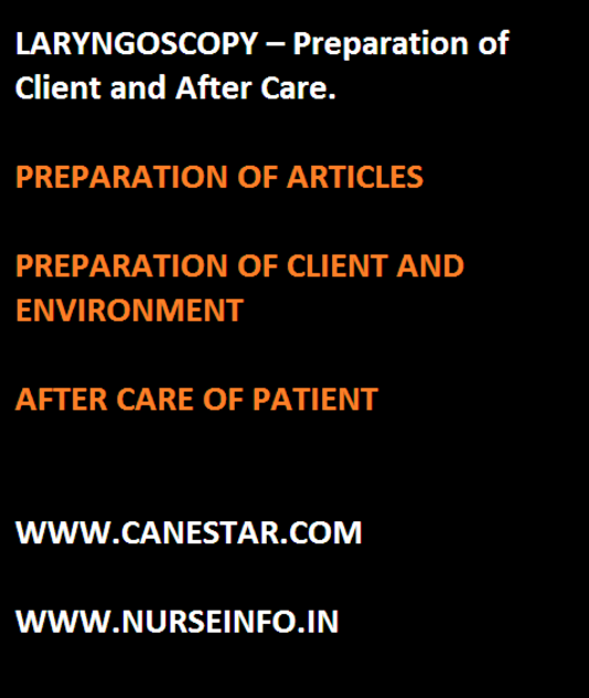 laryngoscopy - preparation of client, nursing care