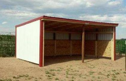 Storage shed animal shelter in red and white