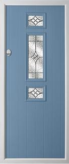 3 square strip rebate composite door in duck egg blue