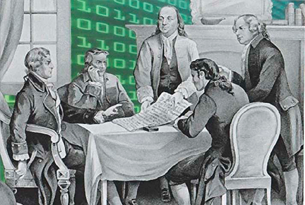 Declaration of Independence committee with binary code in background