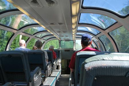 Inside one of the Canadian's high level observation cars.