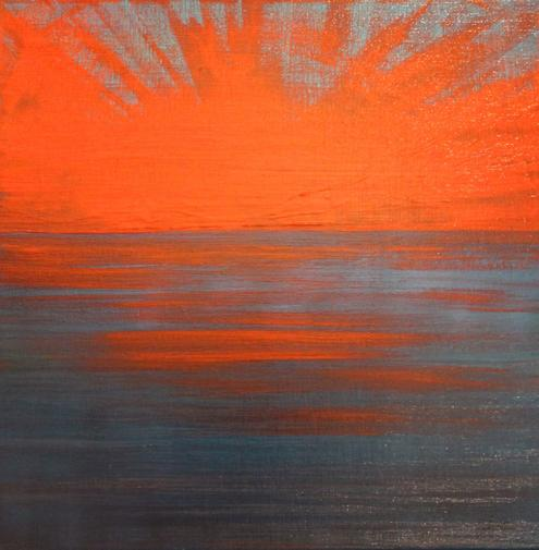 Setting Sun. 40x40cm. 'Golden' acrylics on canvas. Varnished satin-matte. Original re-imagined setting sun painting by Irish artist Orfhlaith Egan. Berlin, Germany.
