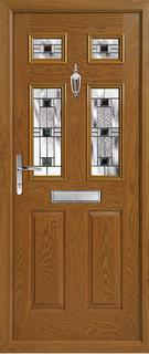 2 panel 4 square composite door in light wood