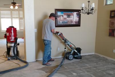 Dust free tile removal contractor sanding down thinset