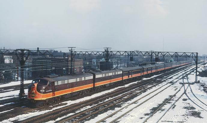 IC E9A 4036 with Train No. 1, the City of New Orleans at Grand Crossing overpass, Chicago, IL on March 31, 1964. Photo by Roger Puta.