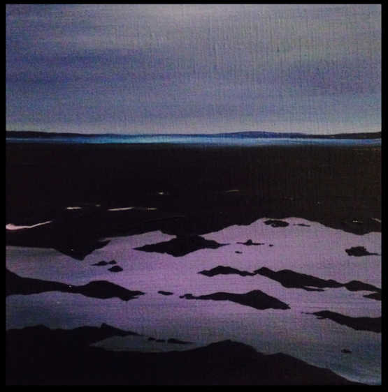 A Violet Tide 30x30cm. Acrylic paint on canvas. Blue and violet contemporary seascape painting by Irish artist Orfhlaith Egan.