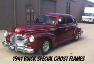 1941 Buick Special Maroon with Ghost Flames