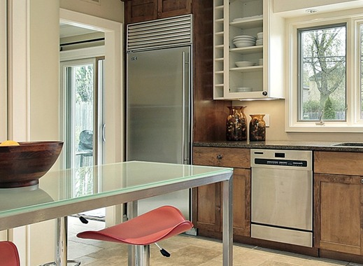 Photo of custom glass top and insulated glass in kitchen