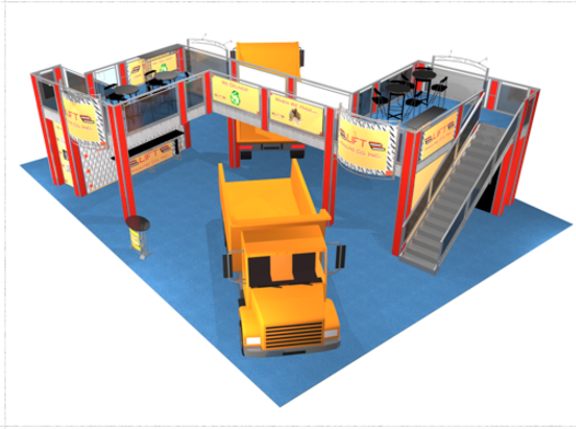 Double deck 50 x 40 trade show booth for Lift Hauling company top view.