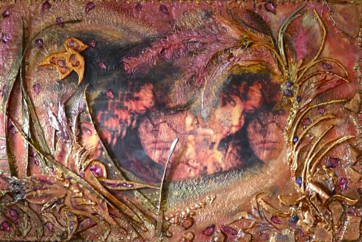 encaustic mixed media art, collage, figurative, female, hearts, love