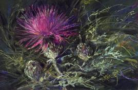 A Thistle in Time, mini pastel by Lindy C Severns