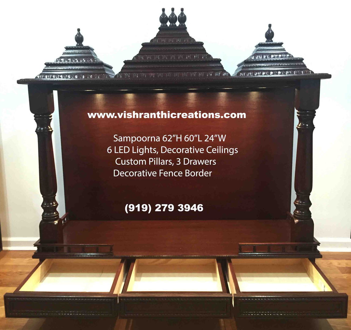 Wooden Pooja Mandir in USA by Vishranthi Creations