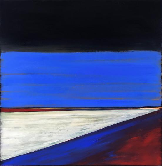 Home Cinema/The Blue Beach 2019. 40x40cm. Acrylic paint on canvas, varnished. The Cornamona Collection. Modern Landscape painting by Orfhlaith Egan Art, Berlin and Cornamona.