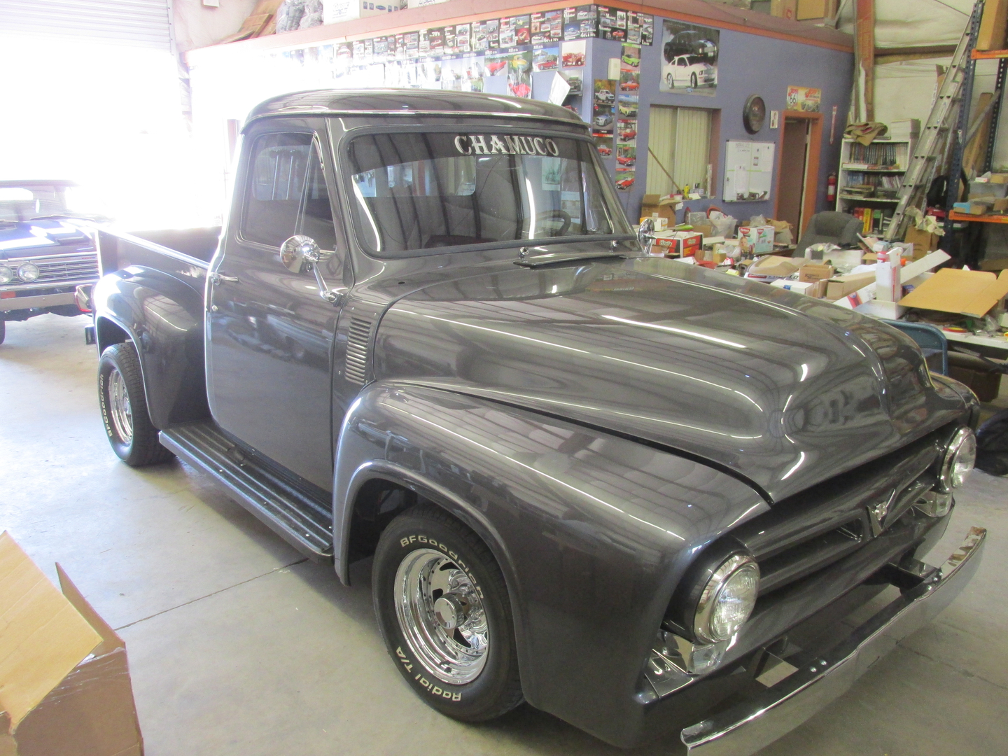 55 F100 1955 Ford Truck Interior This Is A Beautiful With 302 Motor And Aod Transmission Its Painted Charcoal Grey Black Chrome Accents
