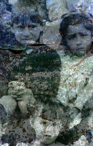 Sad early 20th C. orphaned children layered with film frame found on a dusty track in Jibacoa, Cuba