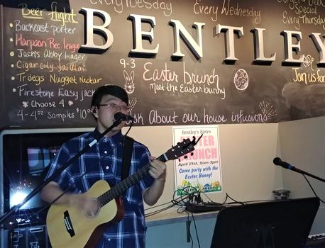 Kyle Langlois performs at Bentley's Bistro, East Longmeadow, MA