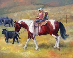 western oil painting cowboy kids riding their paint horse herding cows