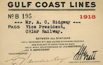 A Gulf Coast Lines [ass from 1918 issued to the Vice President of the Chicago, Rock Island and Pacific.