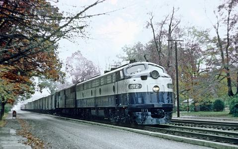 RF&P 1012 with Train 85, The Everglades, creeping through Ashland, VA on November 16, 1968. Photo by Roger Puta.