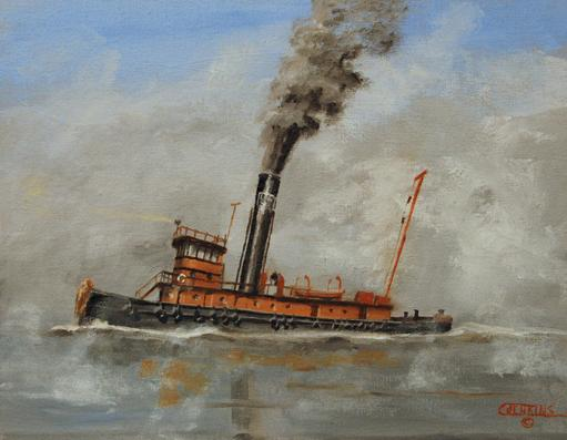 Lackawanna Railroad steam tug painting