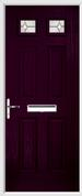 4 Panel 2 Square Composite Door regal opal glass