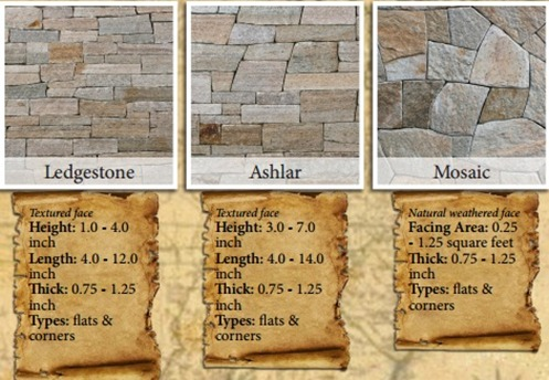 Stoneyard Colonial Tan Thin Veneer Sizes & Dimensions