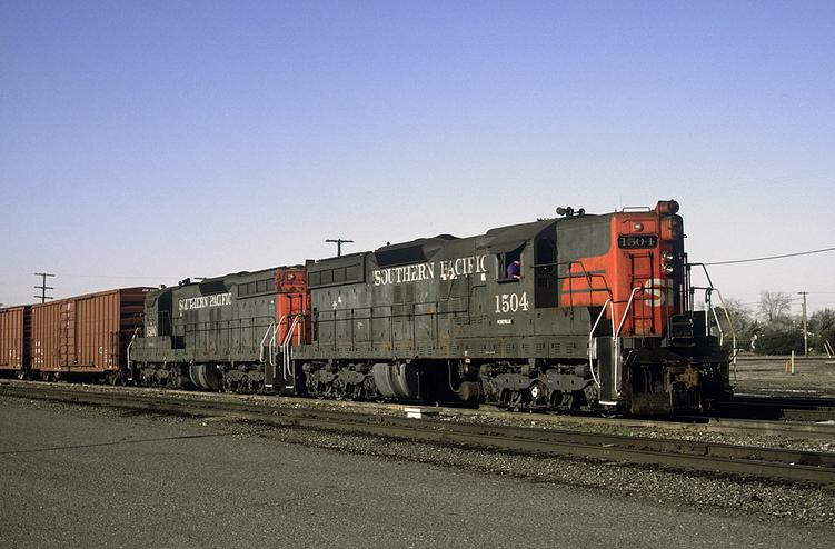 Two of SP's then forty year old SD7's still at work switching the East end of the Roseville yard, February 2009. Photo by Drew Jacksich.