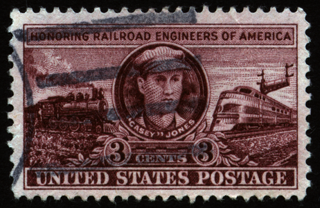 """Casey"" Jones depicted on a 3-cent postage stamp honoring Railroad Engineers of America issued by the United States Postal Service."