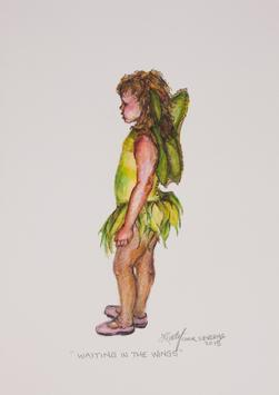 "Tiny winged dancer, original colored pencil drawing by Lindy Cook Severns. ""Waiting in the Wings"" 10"" x 8"" for saleng"