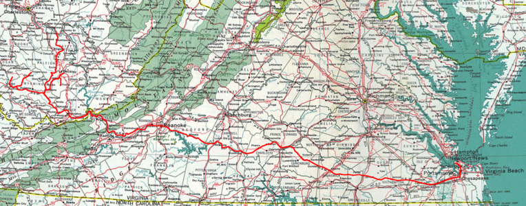 A Map of the Virginian Railway.