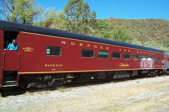 A now privately owned Norfolk and Western Railway Powhatan Arrow passenger car at Hinton, WV on October 21, 2007.