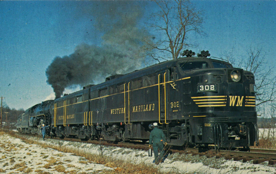 A pair of Western Maryland Alcos on a special excursion train.