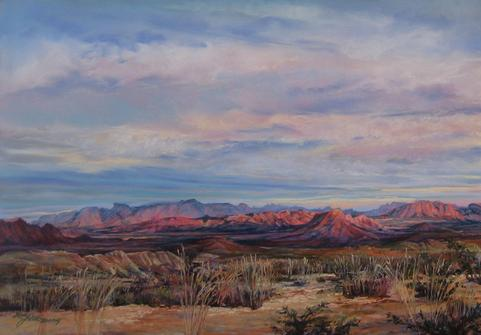 A Terlingua Sunset original landscape painting by Big Bend Artist Lindy Cook Severns