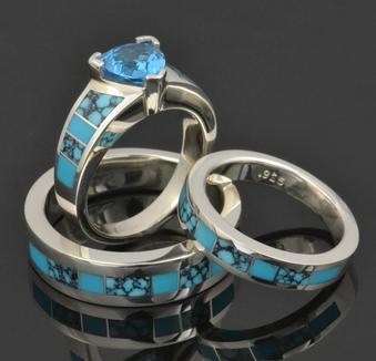 Turquoise Engagement Ring and Turquoise Wedding Ring Set in sterling silver by Hileman Silver Jewelry.