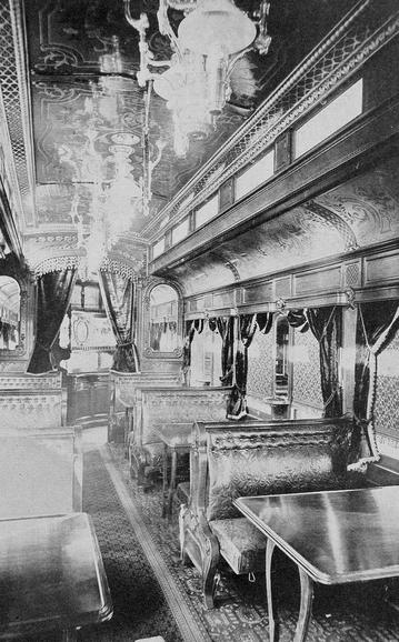 The opulent interior of a Pullman Palace Car, circa 1917.