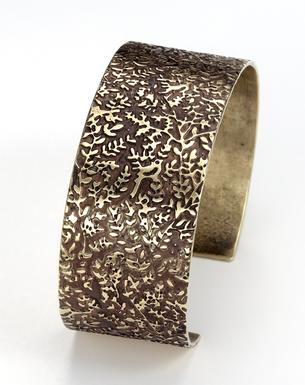 Carol Holaday-Birds in Bush etched brass cuff