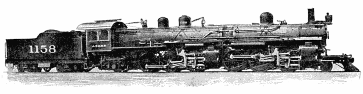 "Flexible-boilered Mallet system steam locomotive of the Atchison, Topeka and Santa Fe Railroad, 1914. Source ""Manipulation of Mallet Locomotives"", 1914, the Cropley Phillips Company."