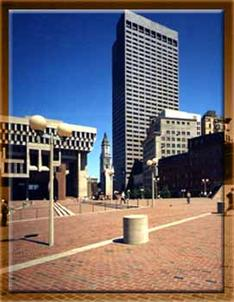 Downtown Boston Streets & Sidewalks with City Hall Brick Pavers