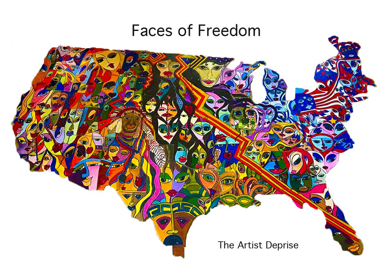 faces of freedom, america, united states, jigsaw puzzle, art, art faces, expressionism,