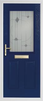 2 panel 1 square rebate composite door in blue
