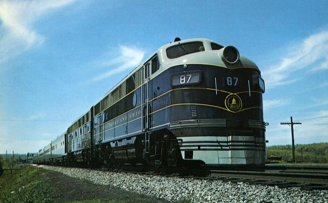 The Baltimore and Ohio's Columbian passenger train in 1949.