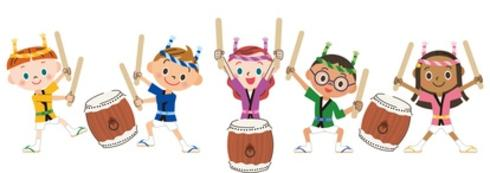 illustration of adolescents playing drums