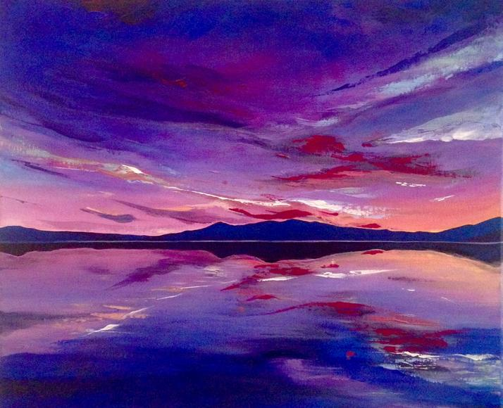 Imperial Sky. 50x60cm. Original Acrylic Landscape Painting by Irish artist Orfhlaith Egan. Paintings inspired by the west of Ireland. Currently on view at Freyer Marktforschung, Berlin.