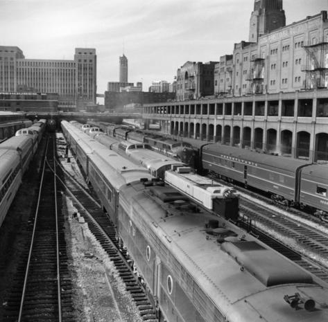 Six tracks south of the Chicago Union Station were busy on this autumn day in 1963.