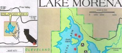 lake morena fishing map, san diego, with reports
