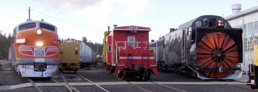 A typical lineup at the Western Pacific Railroad Museum.