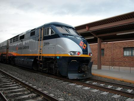 Amtrak California train at San Jose Diridon Station.